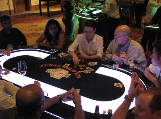 Lighted Texas Hold 'Em Poker Table - Whitefor Casino Parties