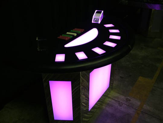 Purple Lighted Black Jack Table for Casino Parties