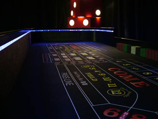 Felt Detail - Lighted Craps Table for Casino Party Rentals