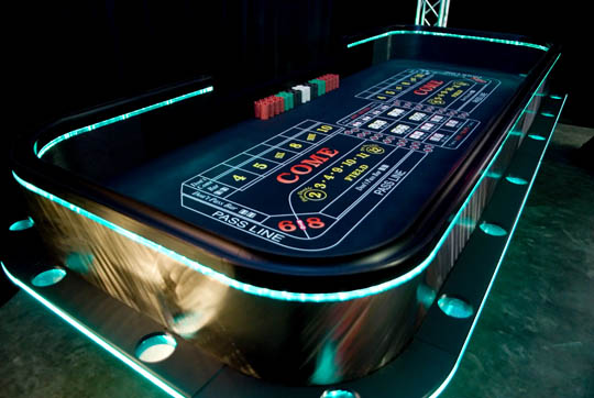 Lighted Craps Table for Casino Party Rentals