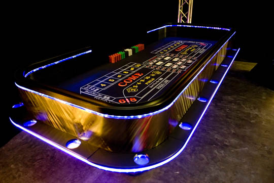 Lighted Craps Tables for Casino Parties