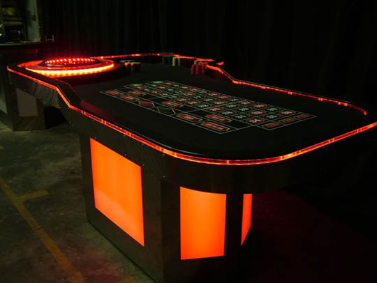 Neon glowing Casino Tables