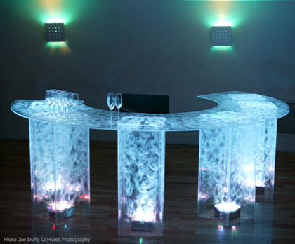 Led Lighted Blue Acrylic Bar For Parties And Receptions