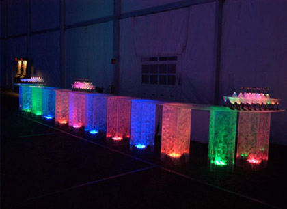 LED Lighted, Multi-colored, acrylic bar for rent - for parties and receptions