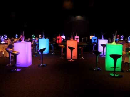 Multi-colored, Lighted, Cocktail Tables ( hi-boy ) for parties and receptions