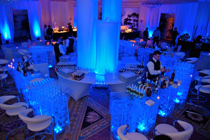 Blue lighted acrylic bar for party rentals