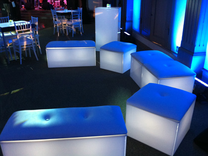 Blue Lighted Lounge Furniture And Tables